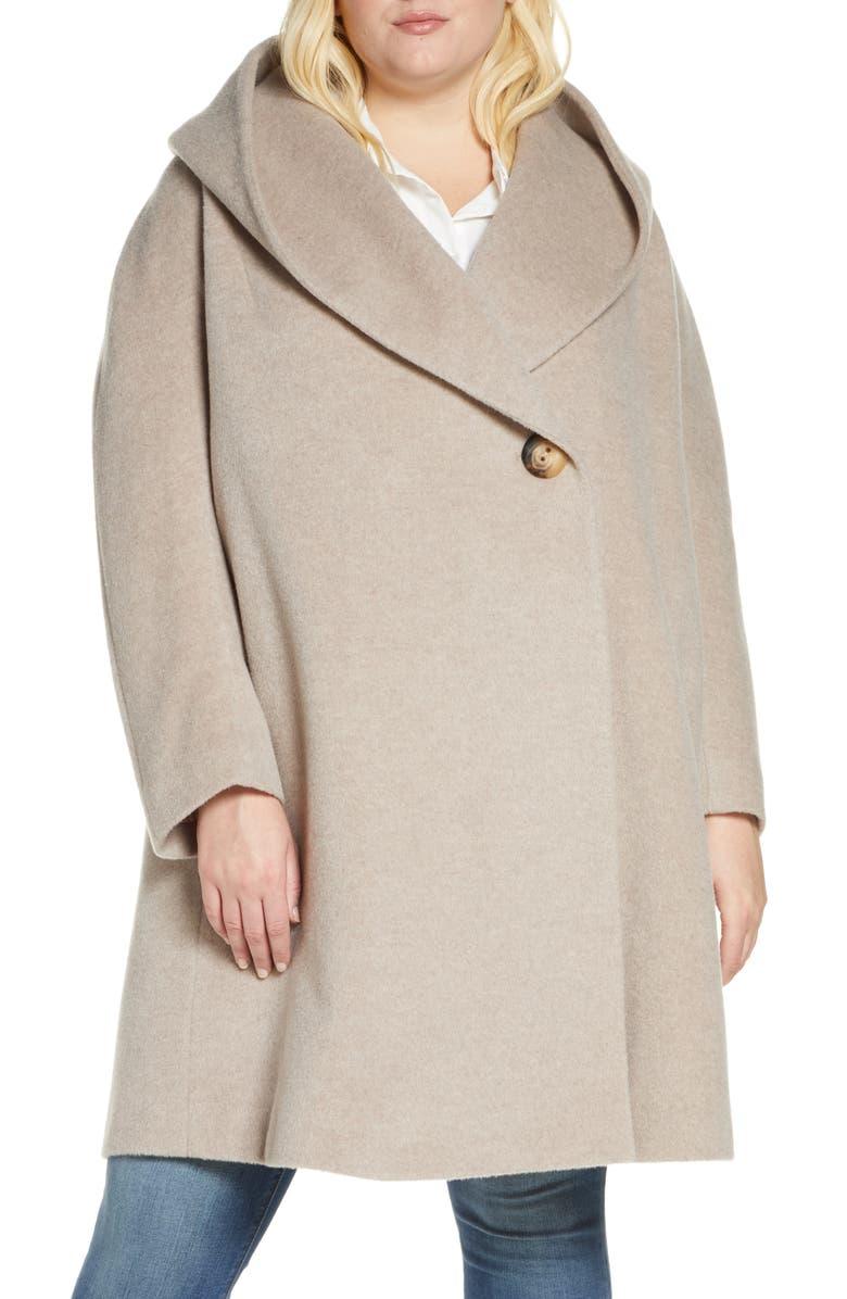 FLEURETTE Hooded Wool & Mohair Coat, Main, color, 020
