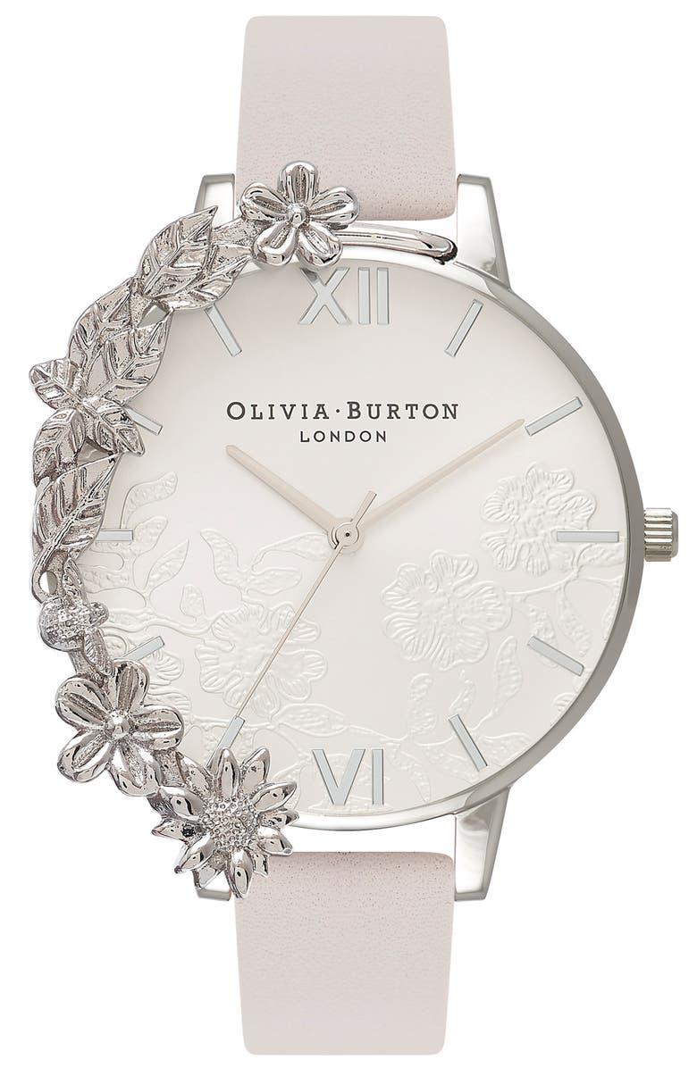 OLIVIA BURTON Case Cuff Leather Strap Watch, 38mm, Main, color, 650