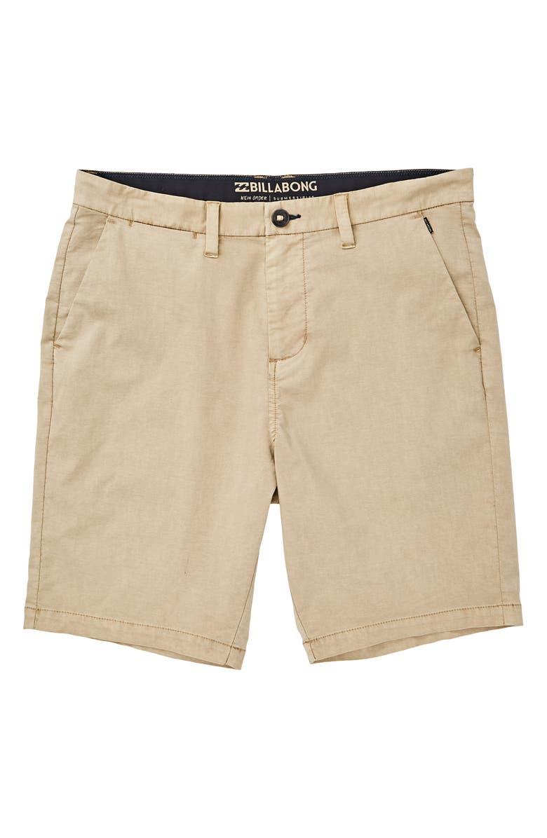 BILLABONG New Order X Overdye Hybrid Shorts, Main, color, KHAKI