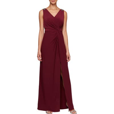 Petite Alex Evenings Jeweled Shoulder Twist Front Gown, Burgundy