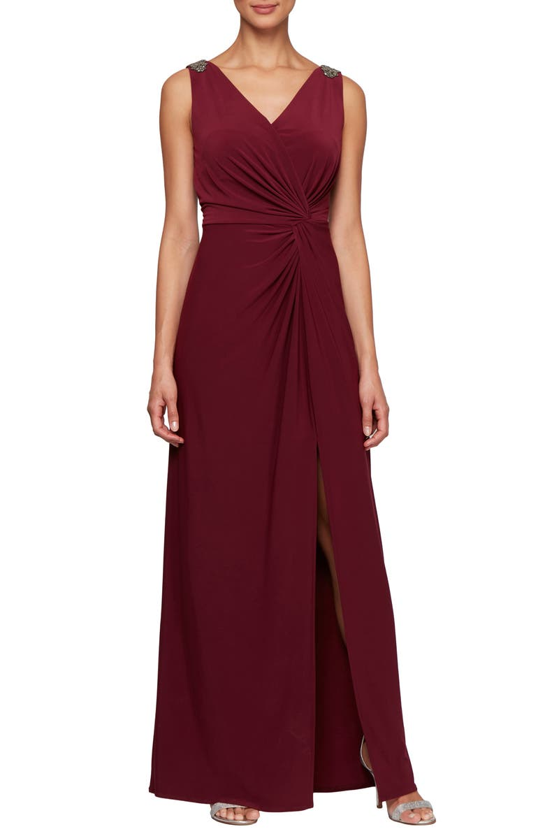 ALEX EVENINGS Jeweled Shoulder Twist Front Gown, Main, color, WINE