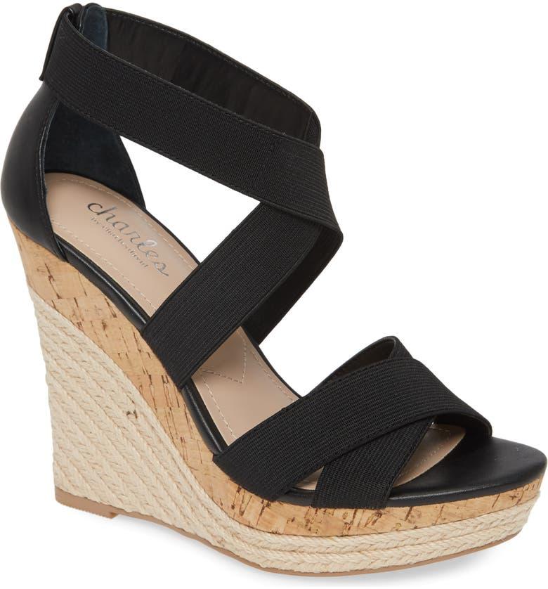 CHARLES BY CHARLES DAVID Azures Wedge Sandal, Main, color, BLACK LEATHER