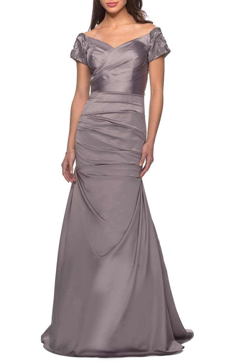 LA FEMME Off the Shoulder Beaded Satin Trumpet Gown, Main, color, SILVER