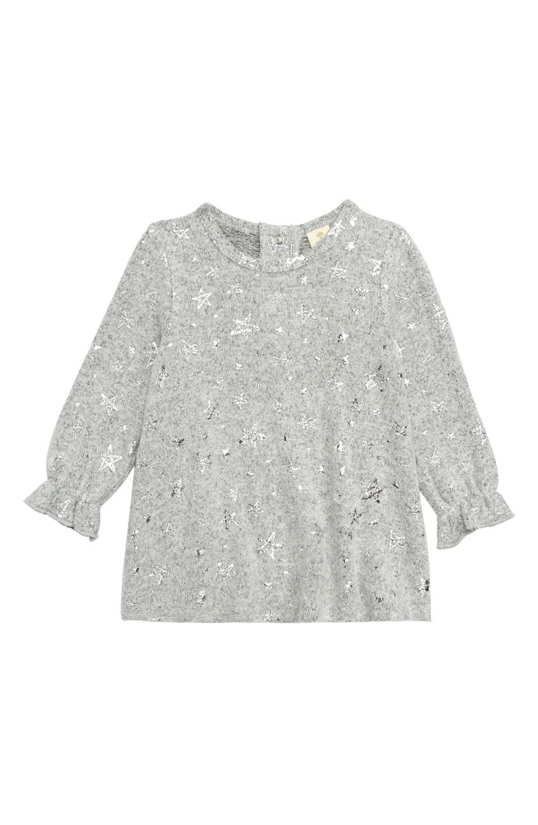 TUCKER + TATE Sparkle Knit Tunic, Main, color, GREY ASH HEATHER SKETCHED STAR