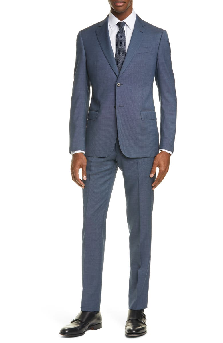 EMPORIO ARMANI G Line Trim Fit Solid Wool Suit, Main, color, BLUE GREY
