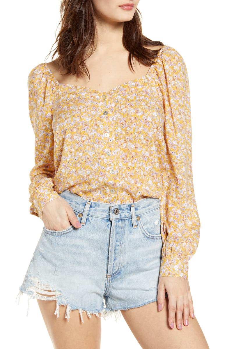 LOVE, FIRE Juliet Floral Print Puff Sleeve Top, Main, color, 700