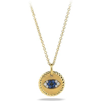 David Yurman Cable Collectibles Evil Eye Charm Necklace With Blue Sapphire, Black Diamonds And Diamonds