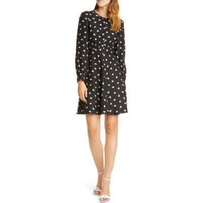 Rebecca Taylor Brigette Long Sleeve Silk Minidress, Black