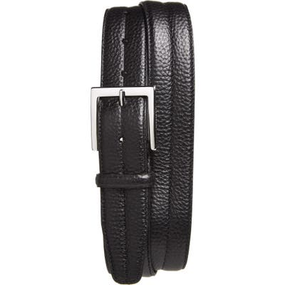 Canali Tumbled Calfskin Leather Belt, Black