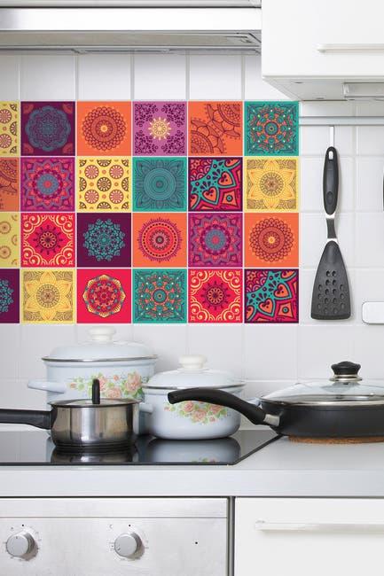 Image of WalPlus Colorful Mandala Tiles Wall Stickers - 10 cm x 10 cm - 24 pieces
