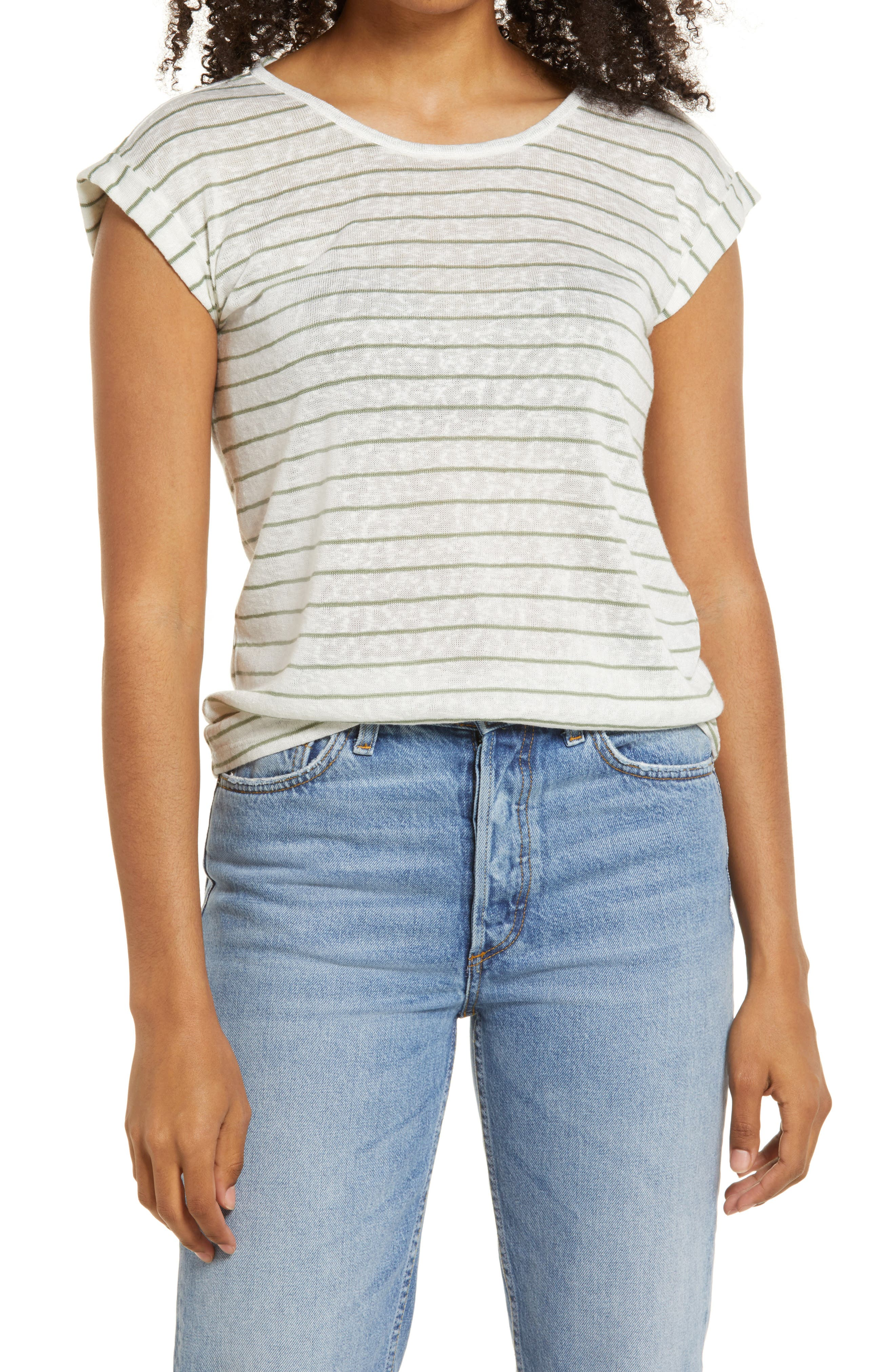 An easy knit top is enlivened with smart, horizontal stripes and a twisted keyhole back. Style Name: Wit & Wisdom Scoop Neck Twist Back T-Shirt (Nordstrom Exclusive). Style Number: 6039877. Available in stores.