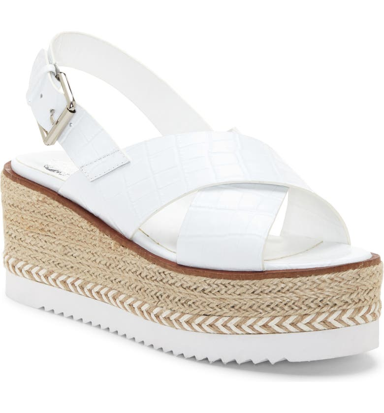 VINCE CAMUTO Marietten Platform Wedge Sandal, Main, color, WHITE LEATHER