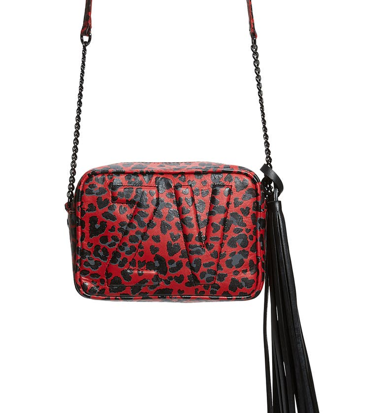 ZADIG & VOLTAIRE Extra Small Boxy Initials Leopard Print Leather Crossbody Shop, Main, color, 600