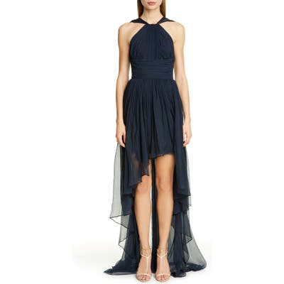 Stella Mccartney Crinkle Silk Chiffon High/low Dress, 8 IT - Blue