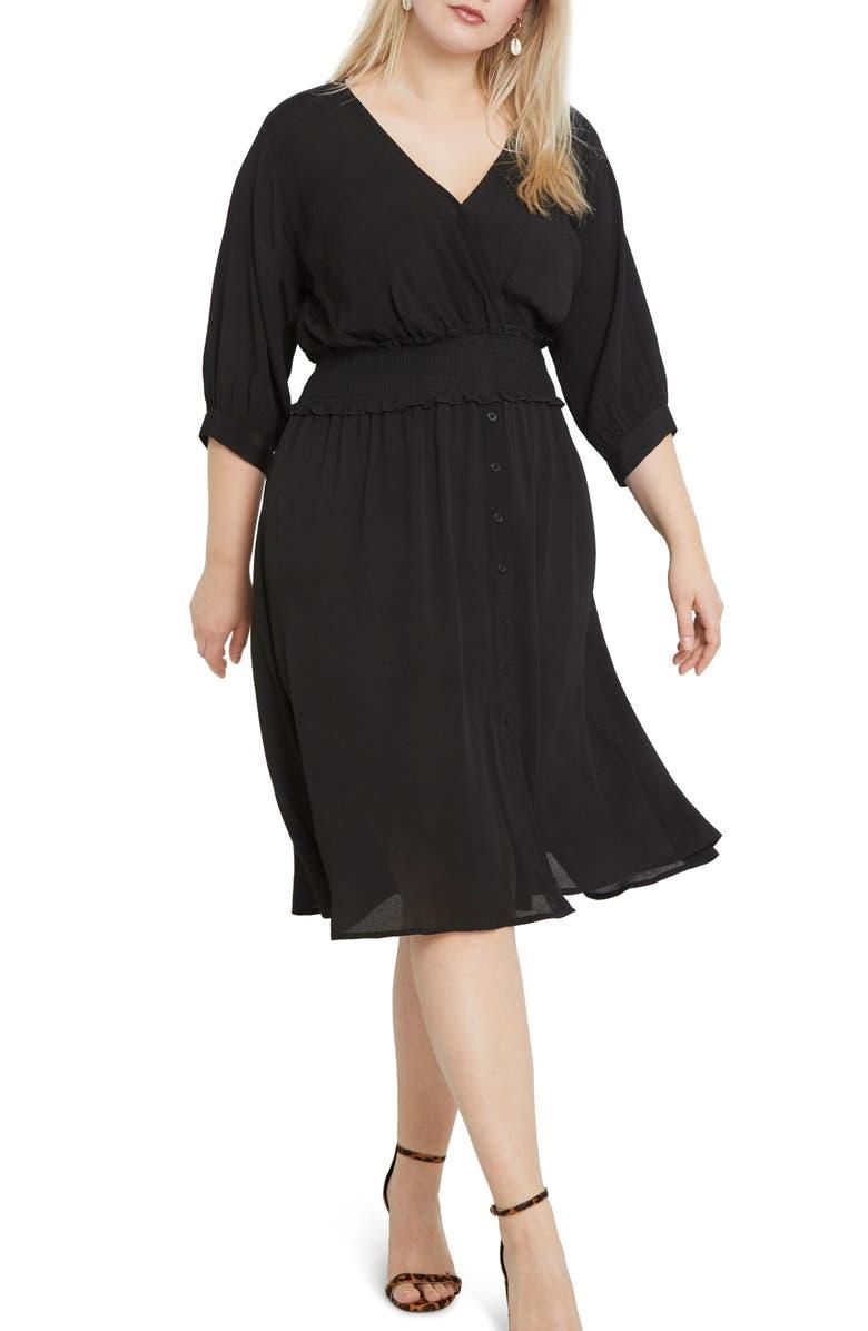 ELOQUII Smock Waist Fit & Flare Dress, Main, color, BLACK