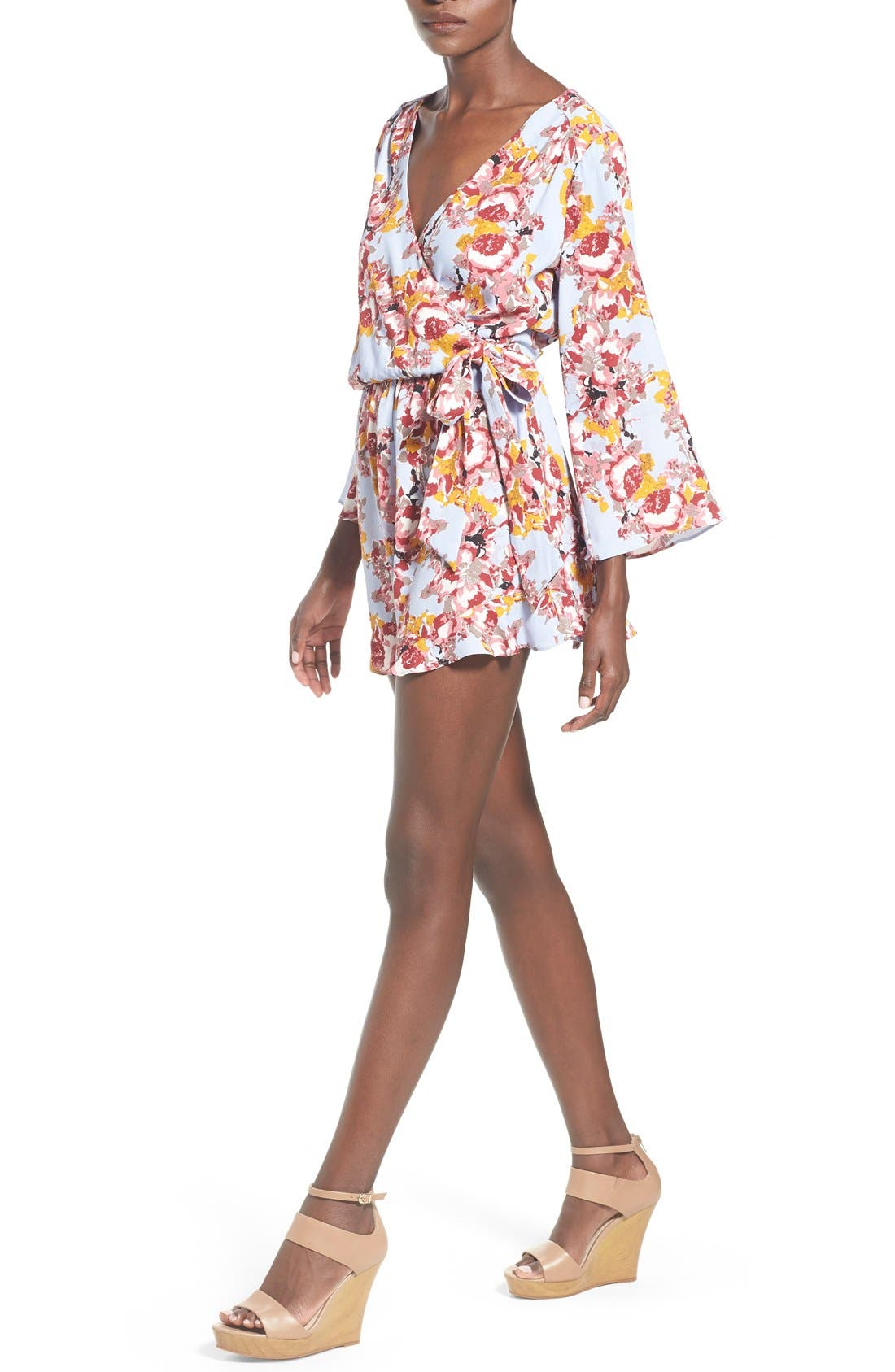,                             ASTR Floral Surplice Romper,                             Alternate thumbnail 11, color,                             400