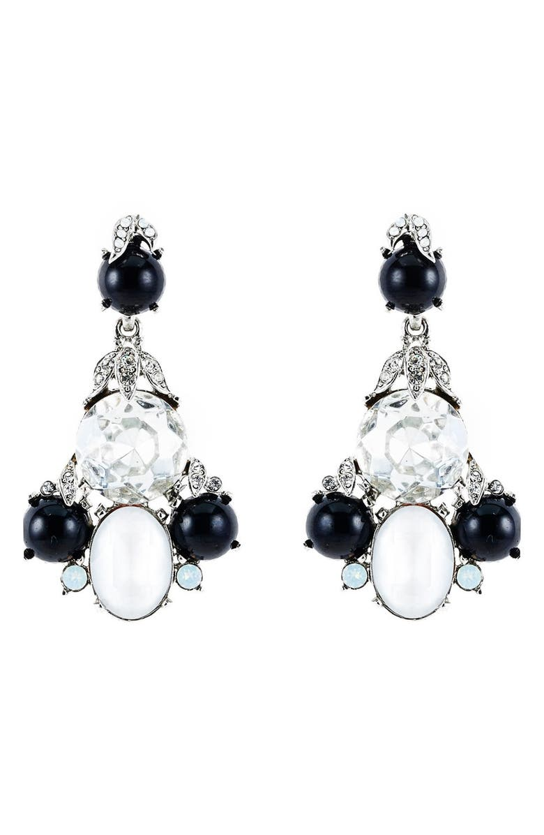OSCAR DE LA RENTA Crystal Chandelier Earrings, Main, color, 001