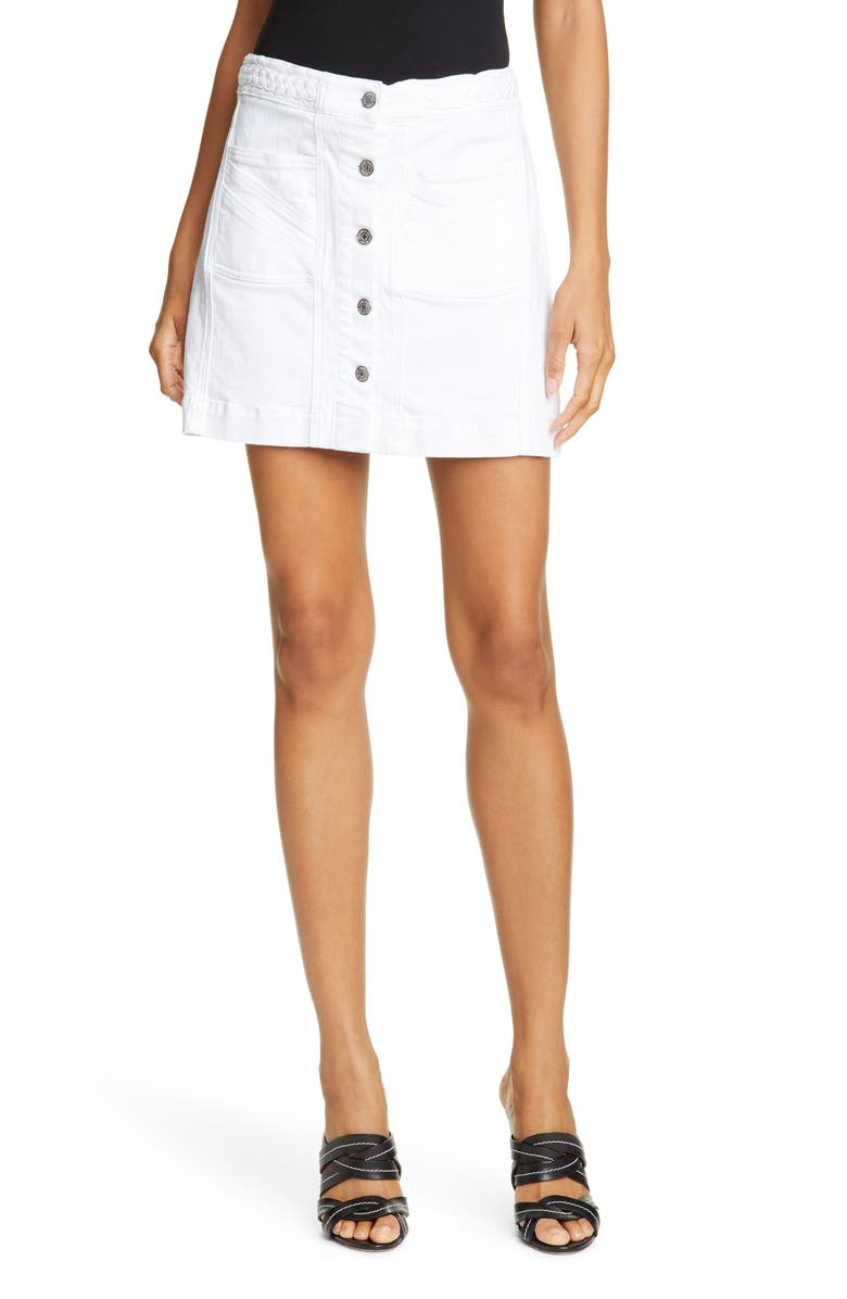 VERONICA BEARD Aron Braided Waist Denim Miniskirt, Main, color, WHITE