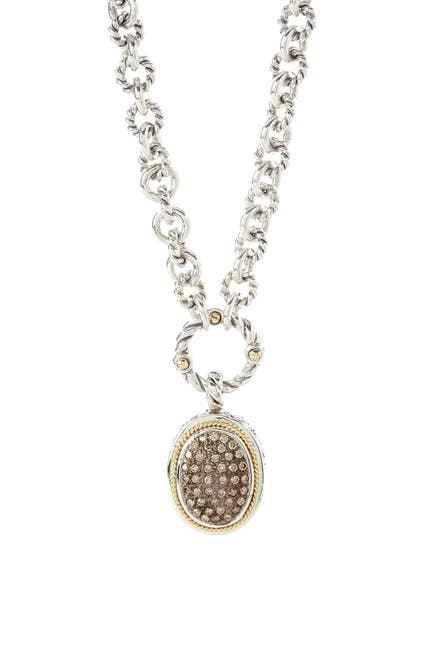 Image of Effy Sterling Silver & 18K Yellow Gold Pave Brown Diamond Oval Link Necklace - 0.42 ctw