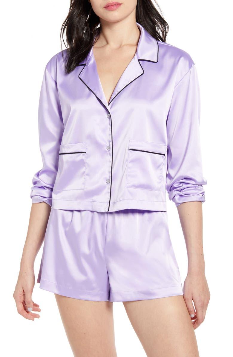 BP. x Claudia Sulewski Satin Short Pajamas, Main, color, PURPLE BETTA