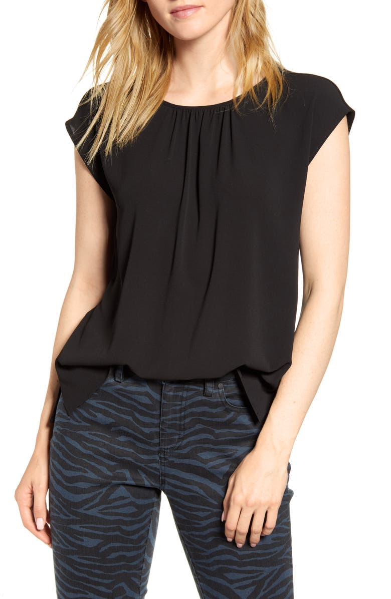VINCE CAMUTO Gathered Neck Knit Back Top, Main, color, RICH BLACK
