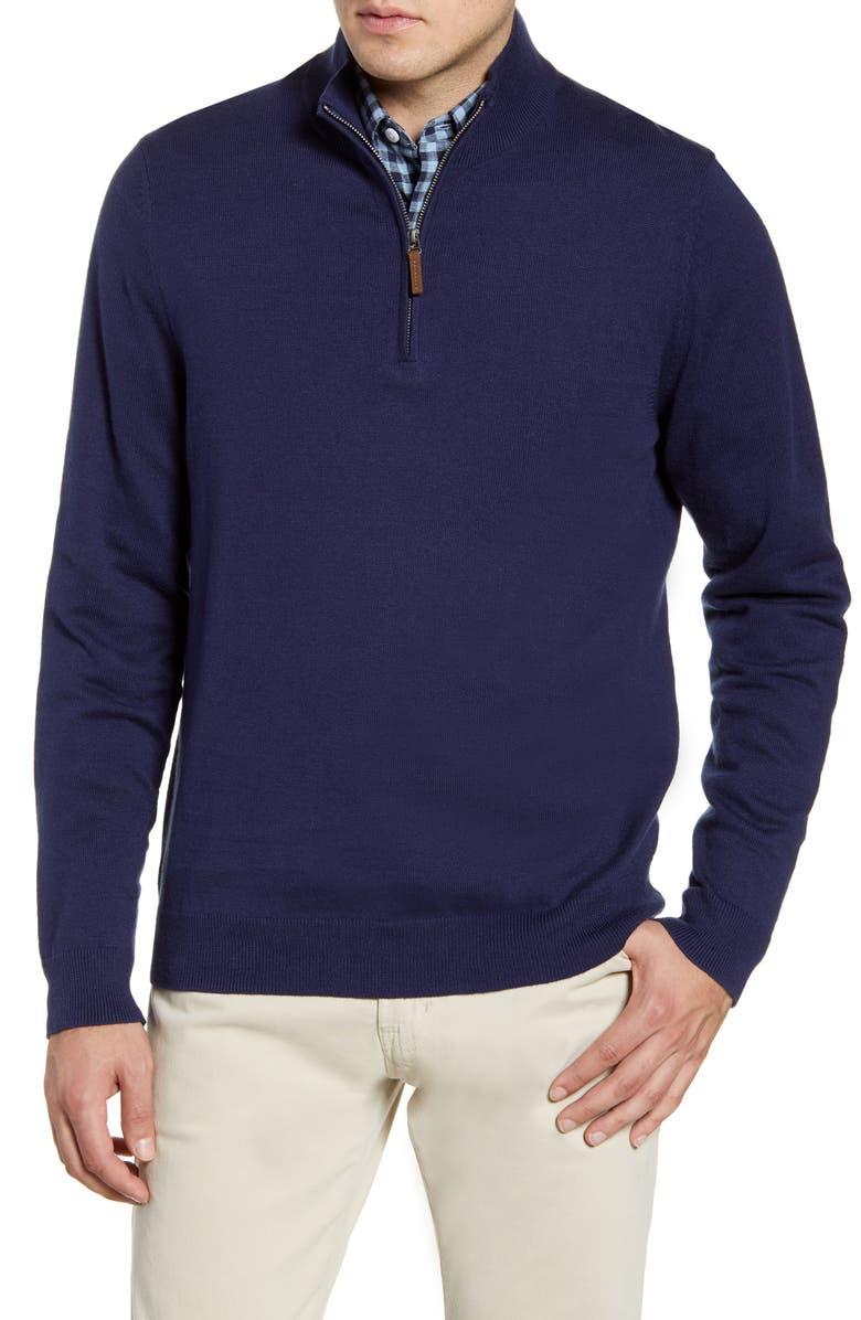 NORDSTROM MEN'S SHOP Half Zip Cotton & Cashmere Pullover, Main, color, NAVY IRIS