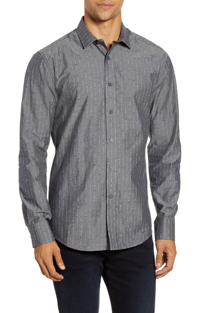 VINCE CAMUTO Slim Fit Dobby Stripe Button-Up Shirt, Main, color, CHARCOAL DOBBY