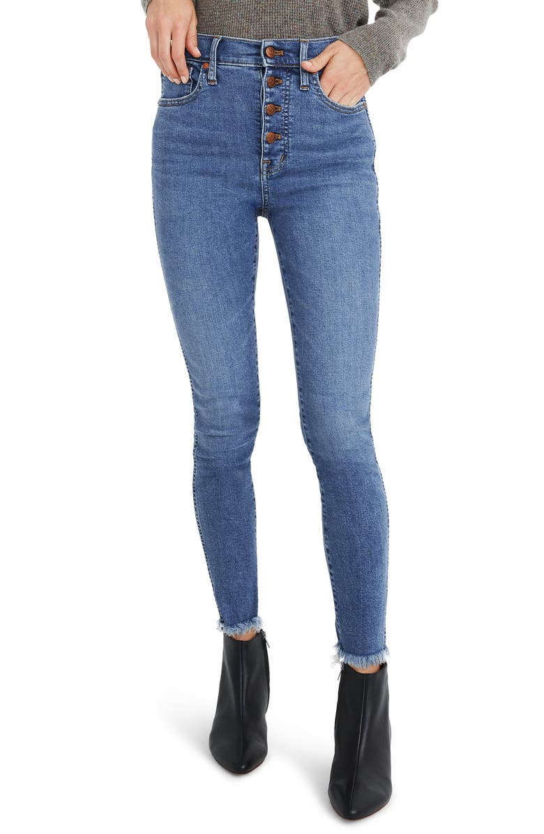 MADEWELL 10-Inch High-Rise Skinny Jeans: Button-Front Edition, Main, color, MACKEY WASH