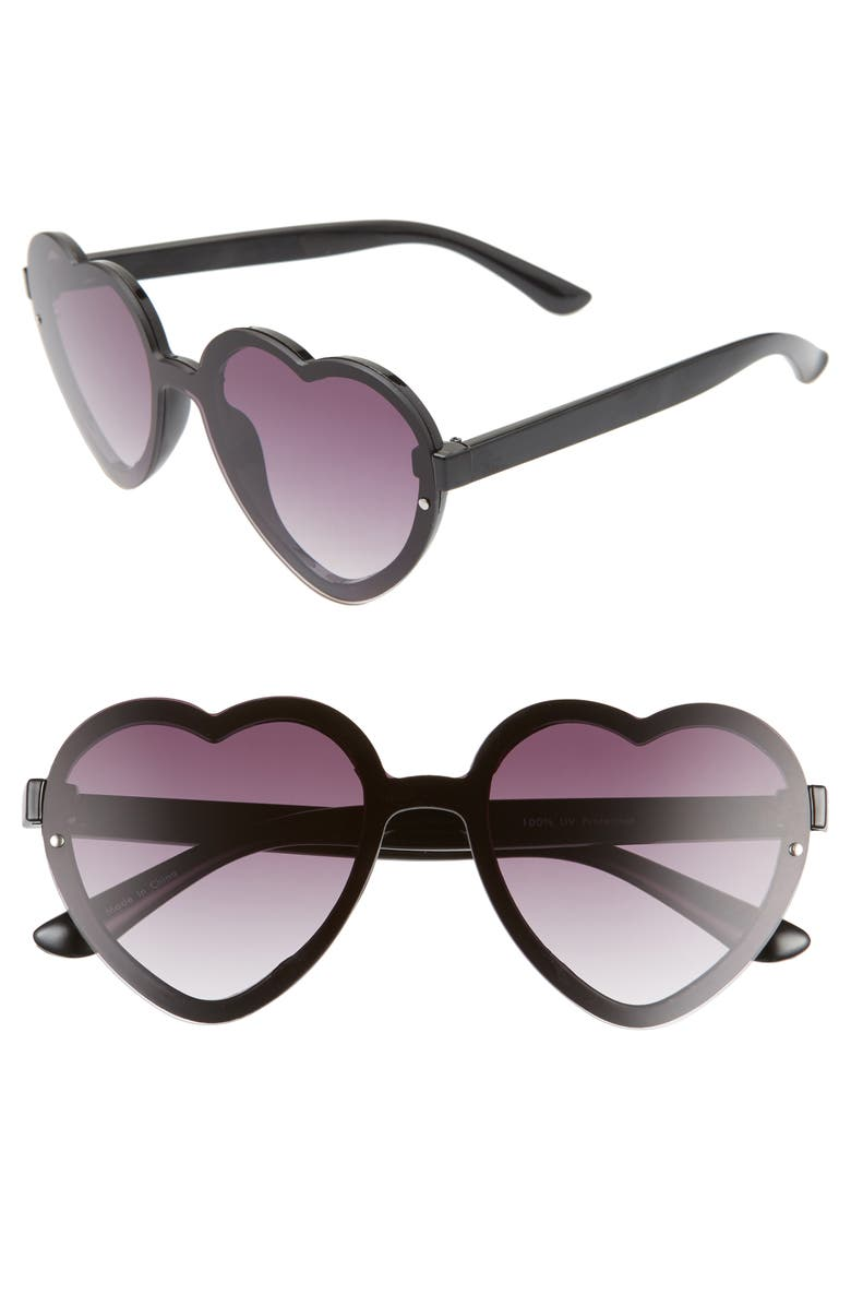 BP. 52mm Flat Front Heart Shape Sunglasses, Main, color, BLACK