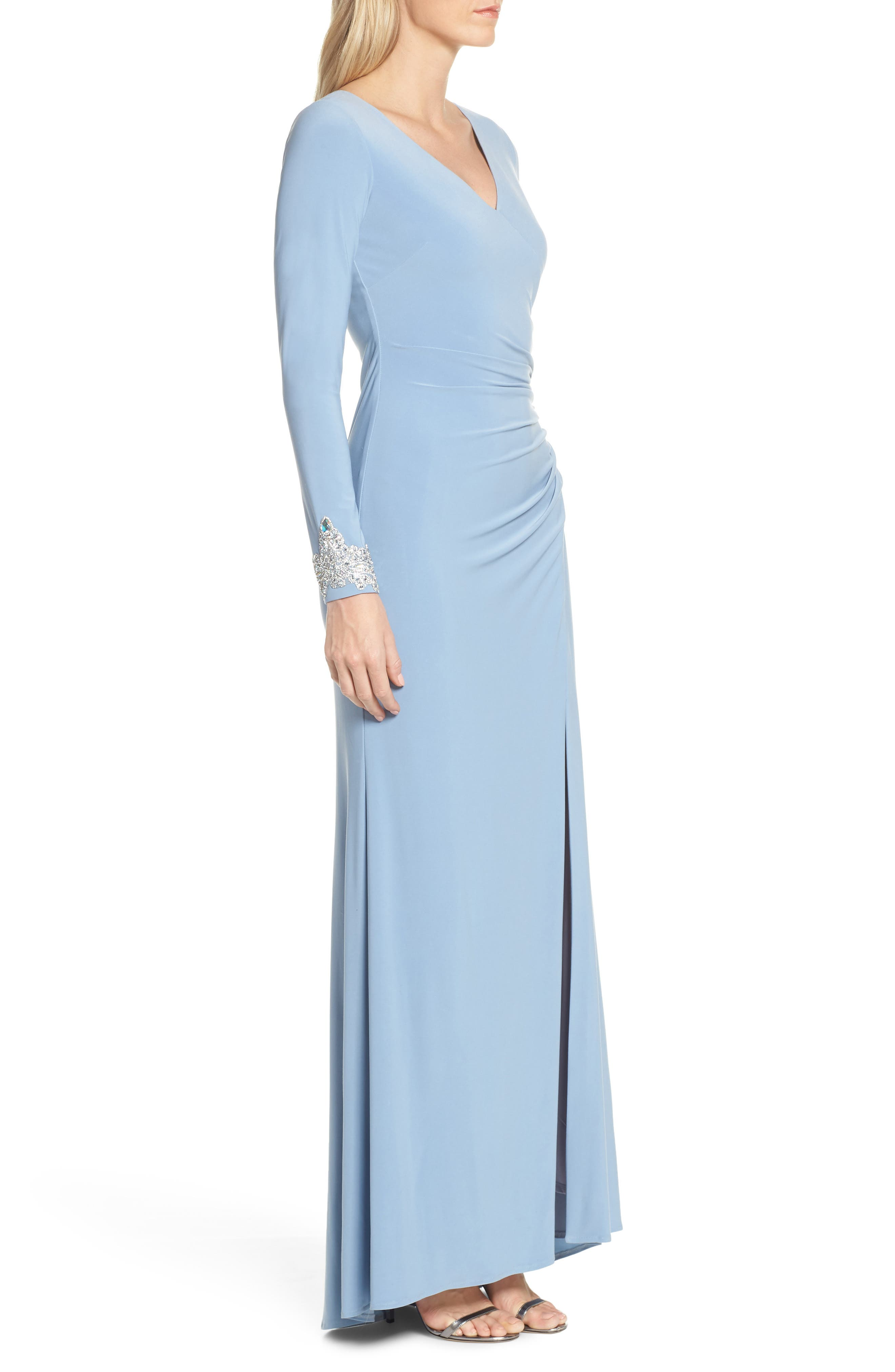 ,                             Long Sleeve Beaded Cuff Ruched Gown,                             Alternate thumbnail 4, color,                             STORM