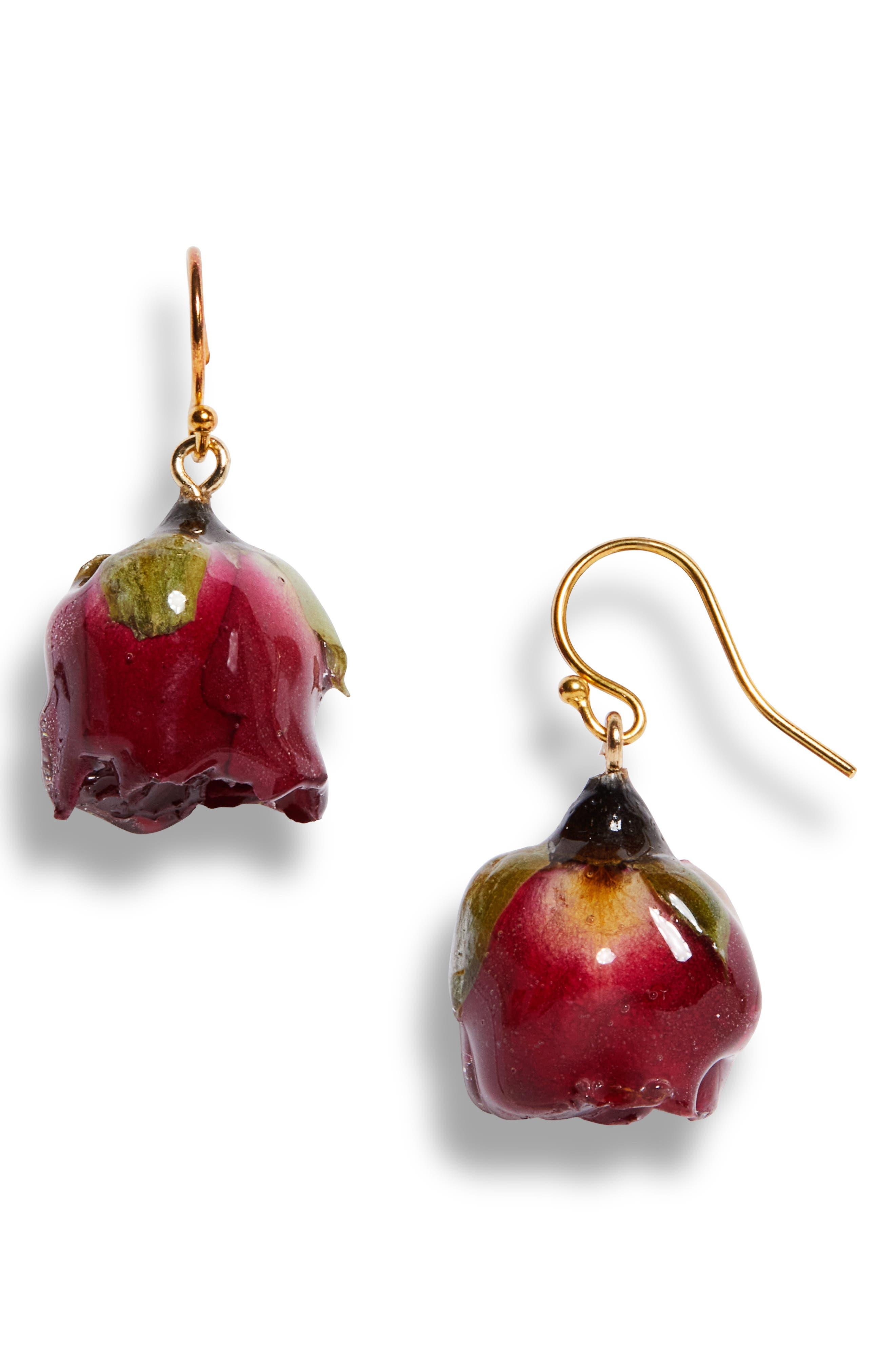 Vamp Rosebud Drop Earrings