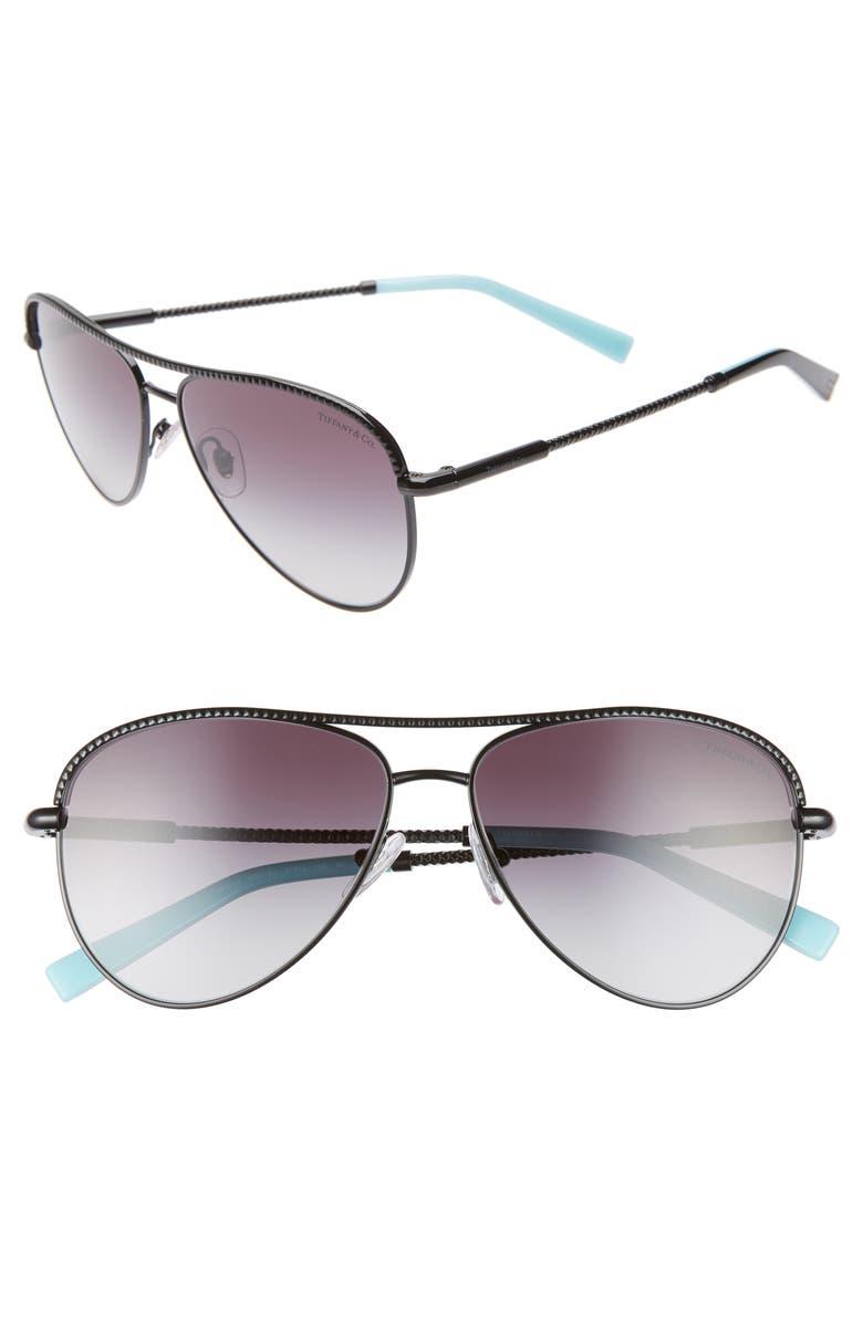 TIFFANY & CO. Tiffany & Co 57mm Aviator Sunglasses, Main, color, 001