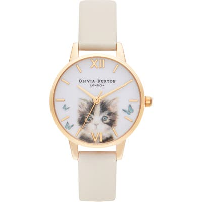 Olivia Burton Illustrated Animals Leather Strap Watch, 30Mm