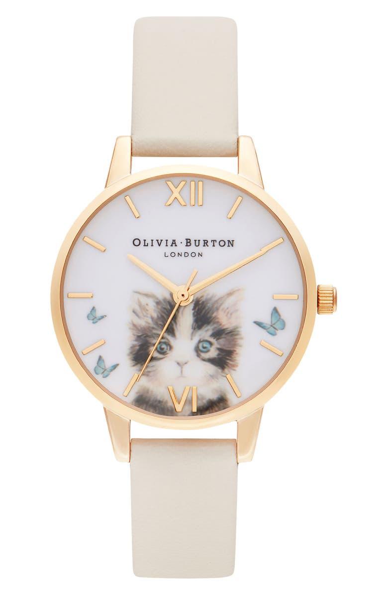 OLIVIA BURTON Illustrated Animals Leather Strap Watch, 30mm, Main, color, CREAM/ KITTEN/ GOLD