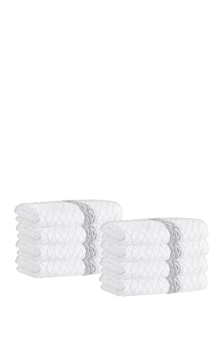 ENCHANTE HOME Anton Turkish Cotton Wash Towel - White - Set of 8, Main, color, WHITE