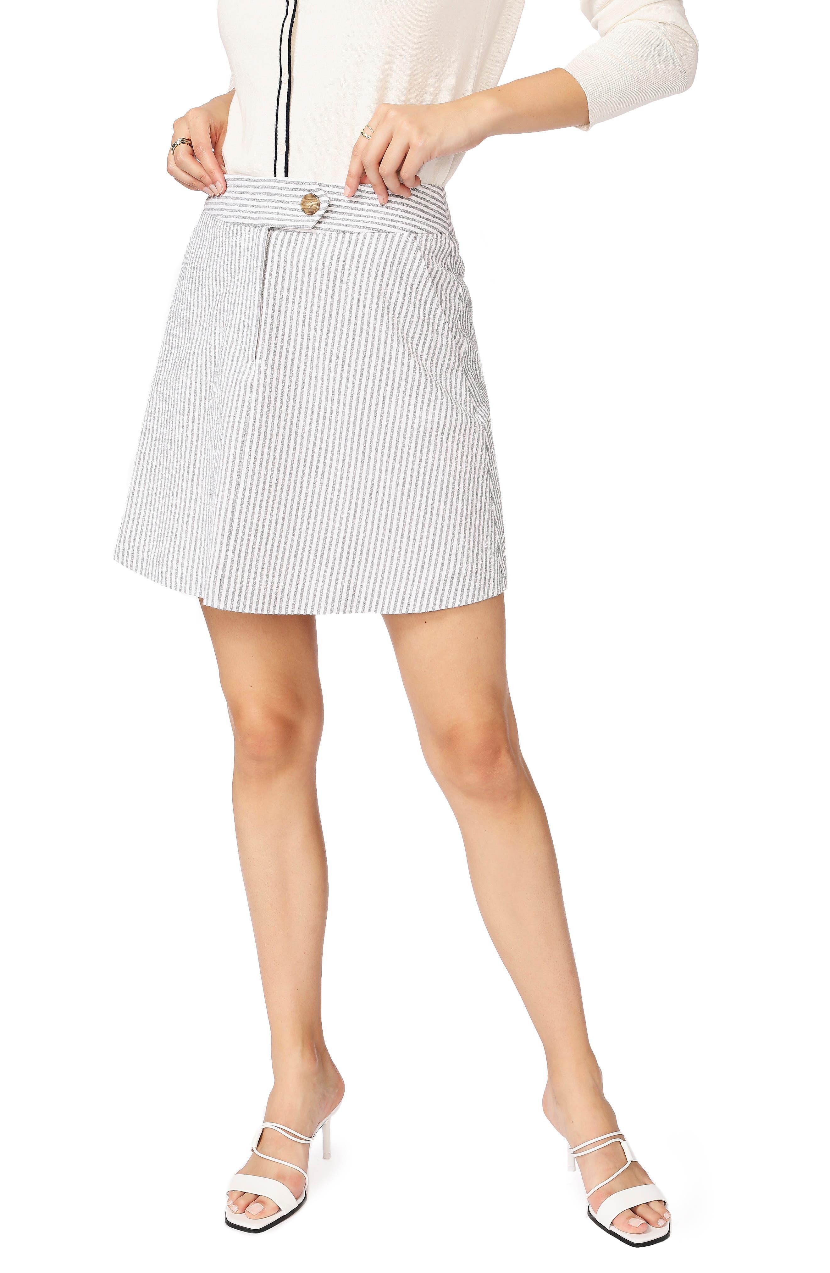 Stretch Seersucker Miniskirt