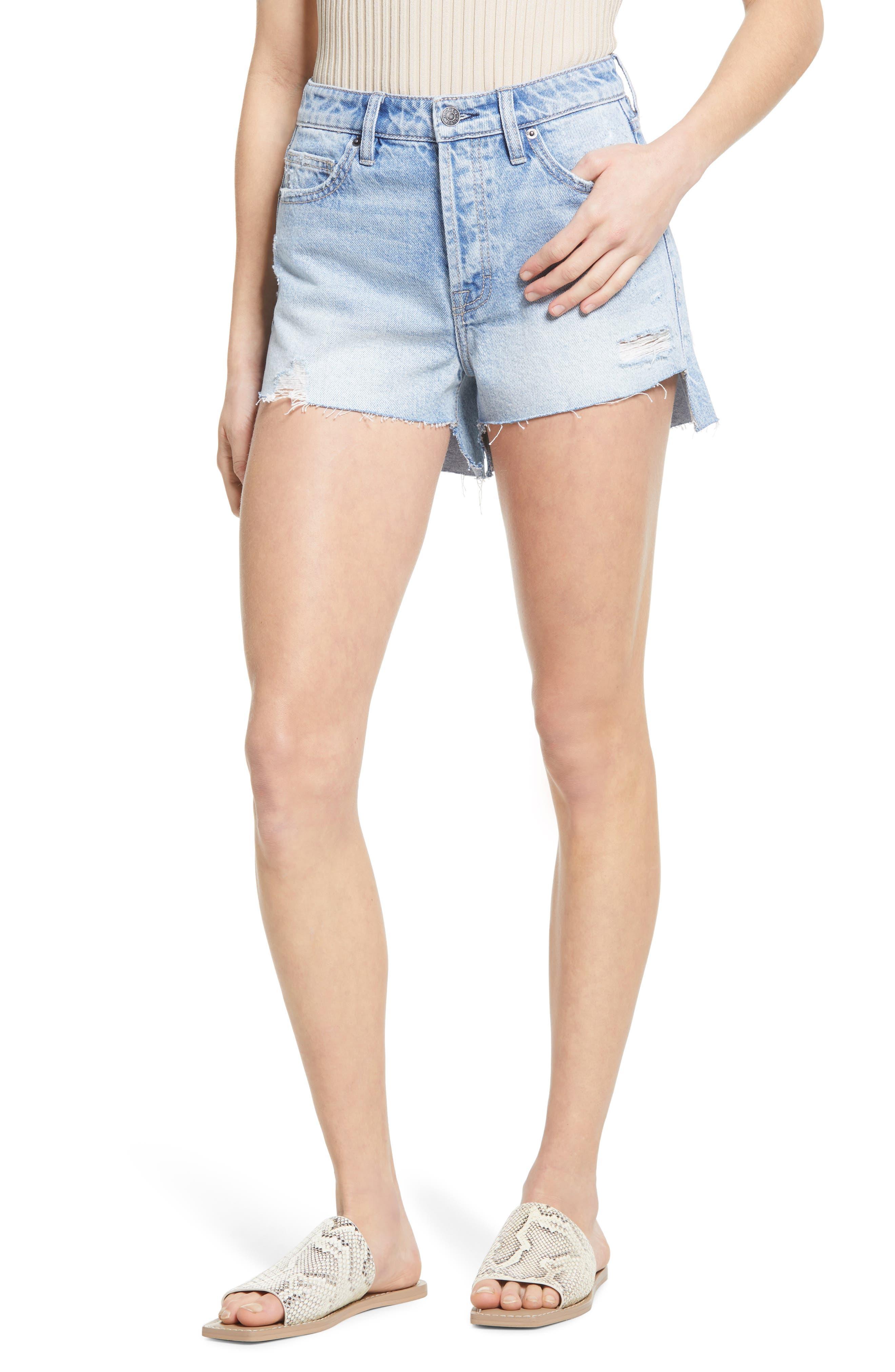 High Waist Step Hem Denim Mom Shorts