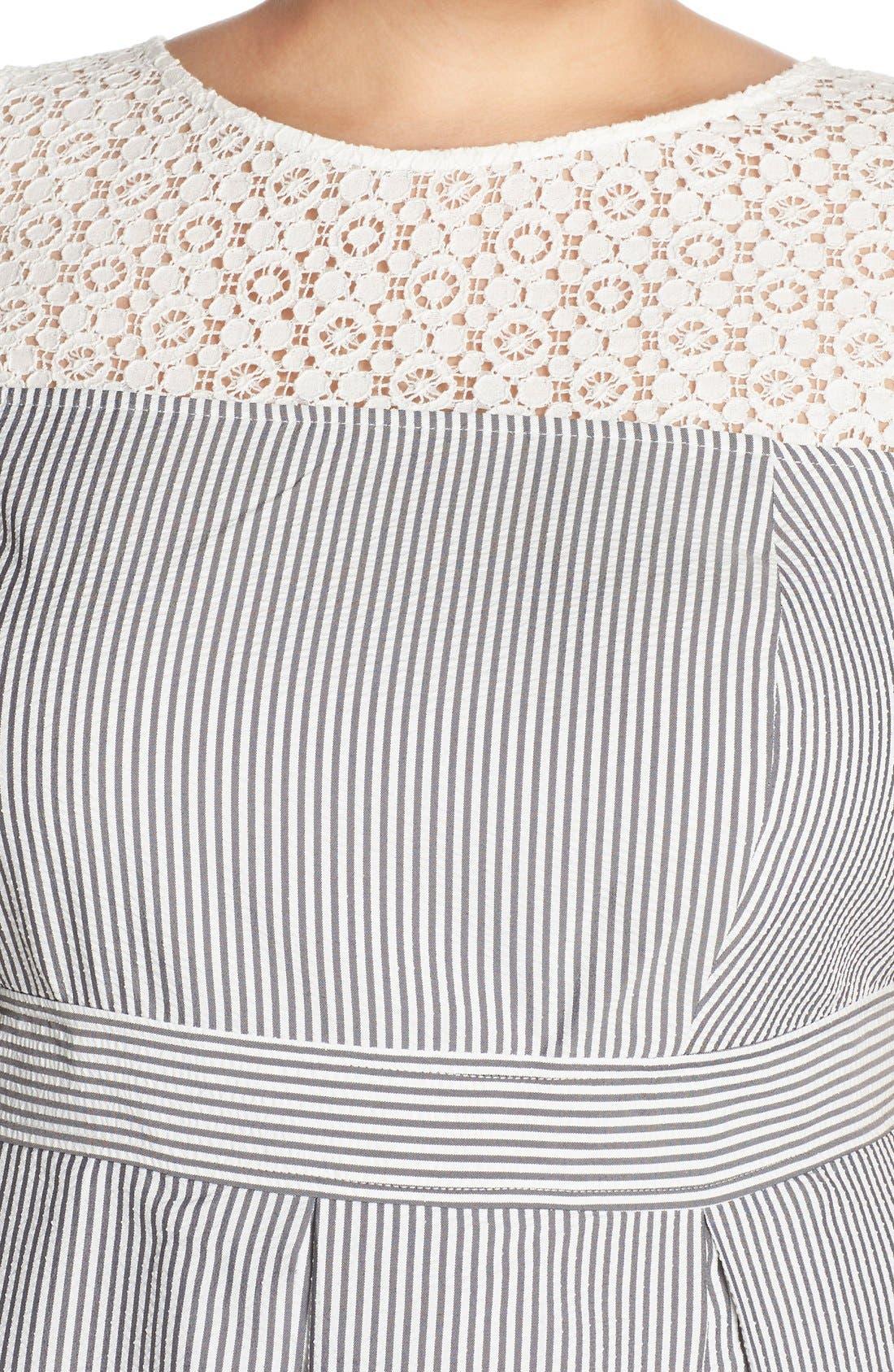 ,                             Lace & Seersucker Fit & Flare Dress,                             Alternate thumbnail 3, color,                             020