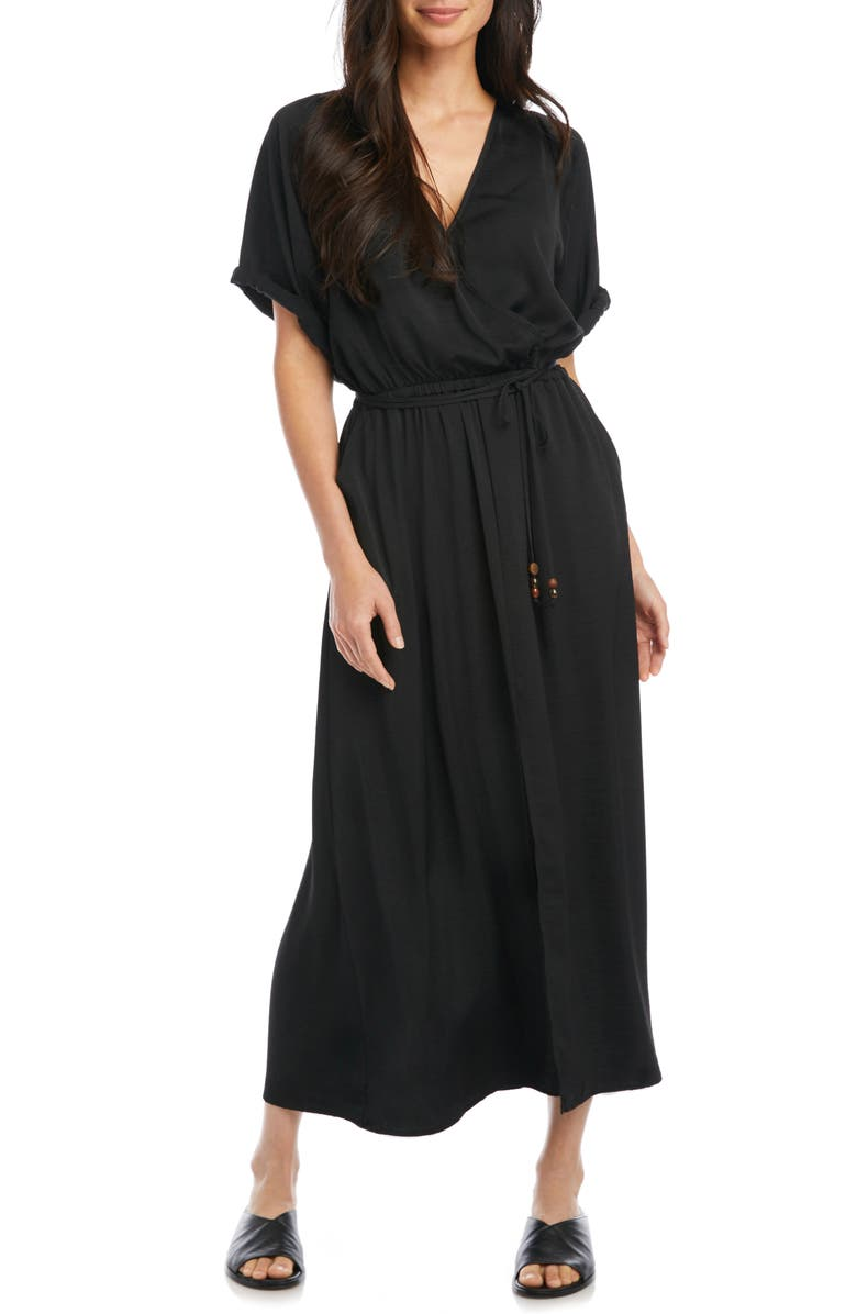 KAREN KANE Cuffed Sleeve Midi Dress, Main, color, BLACK