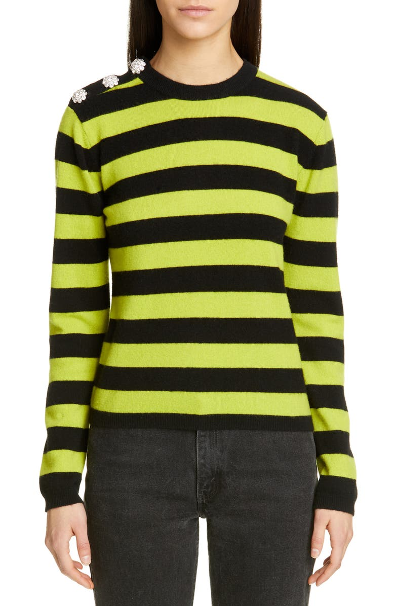 GANNI Stripe Cashmere Sweater, Main, color, NEON MAIZE