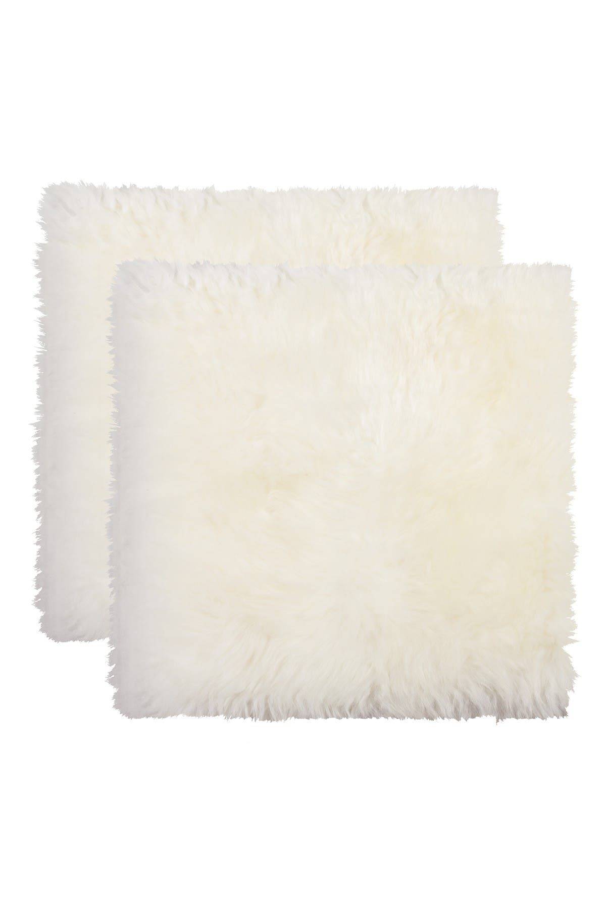 """Image of Natural New Zealand Genuine Sheepskin Chair Seat Pad - Set of 2 - 17""""x17"""" - Natural"""