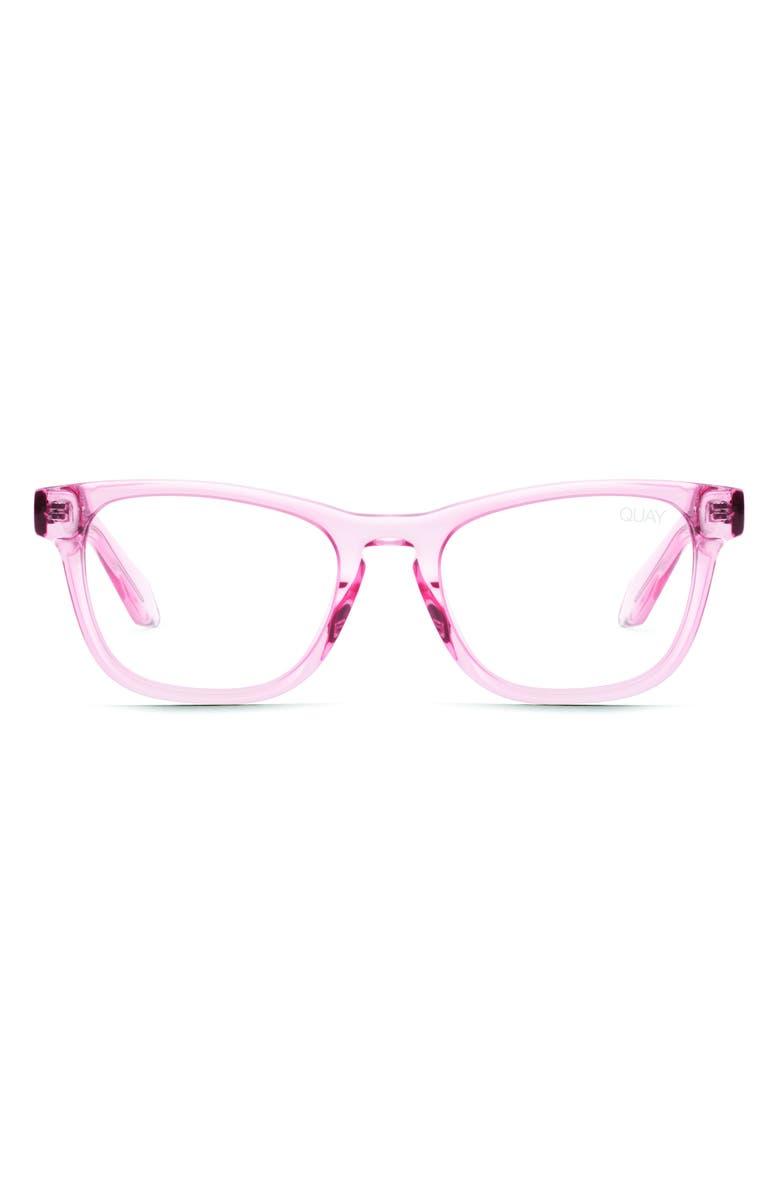 QUAY AUSTRALIA Mini Hardwire 50mm Blue Light Blocking Optical Glasses, Main, color, PINK/ CLEAR BLUE LIGHT