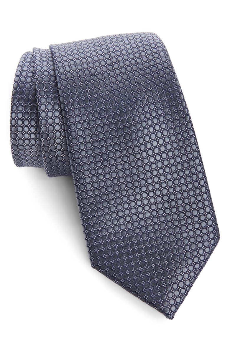NORDSTROM MEN'S SHOP Alana Geometric Silk Tie, Main, color, BLACK/ GREY