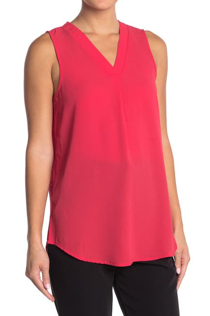 Image of Adrianna Papell V-Neck Sleeveless Solid Top