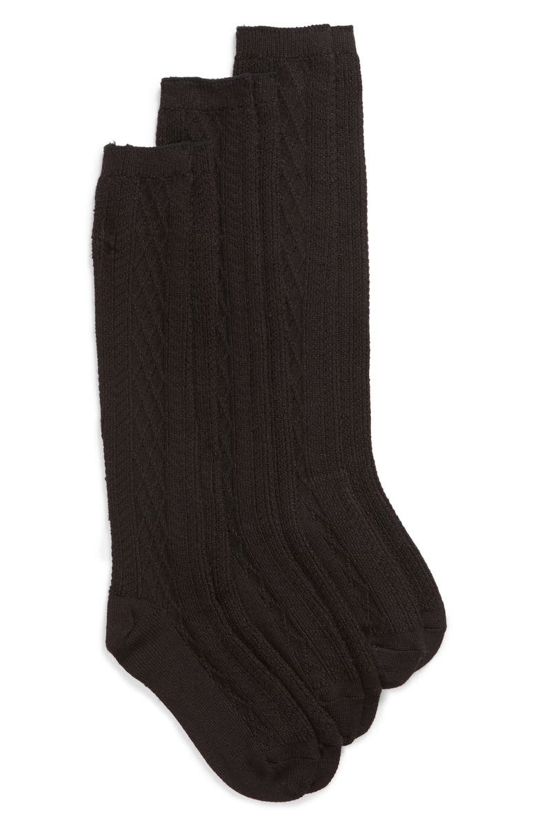 HUE 3-Pack Cable Knee High Socks, Main, color, 001