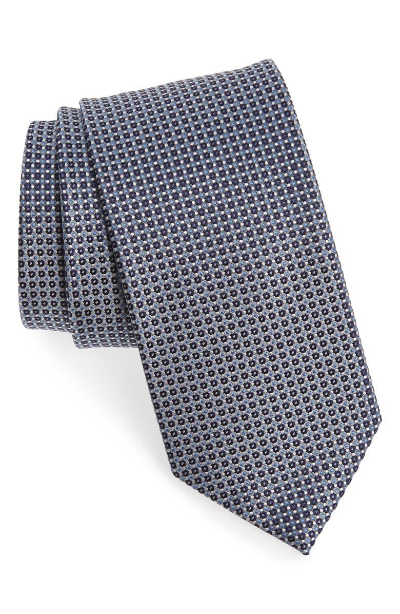 ETON Geometric Silk Tie, Main, color, BLACK