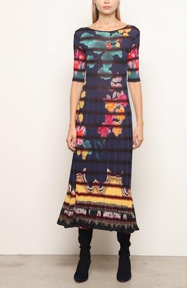 Floral Print Rib Midi Sweaterdress, video thumbnail