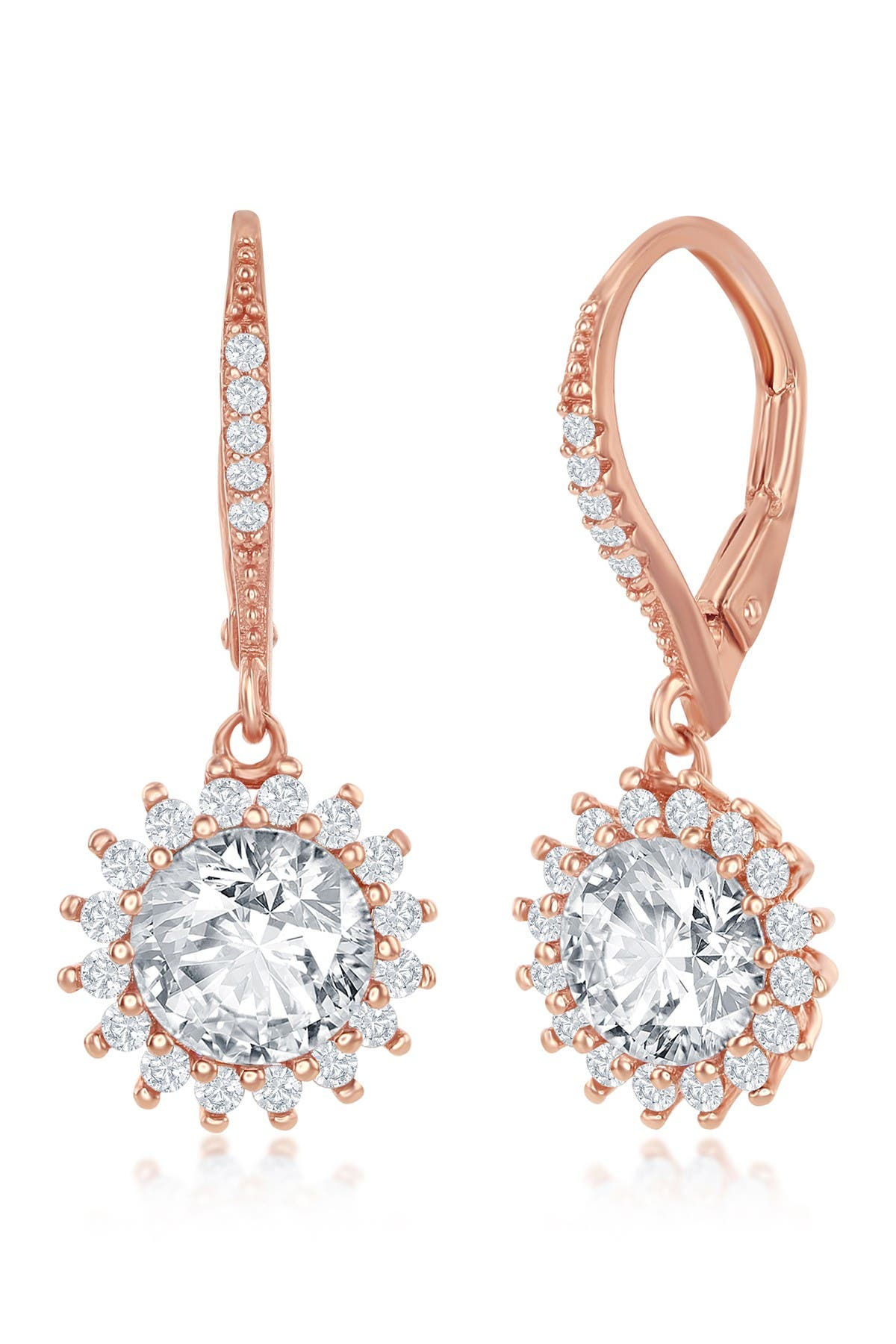 Image of Simona Jewelry 14K Rose Gold Plated Round-Cut CZ Halo Flower Drop Earrings