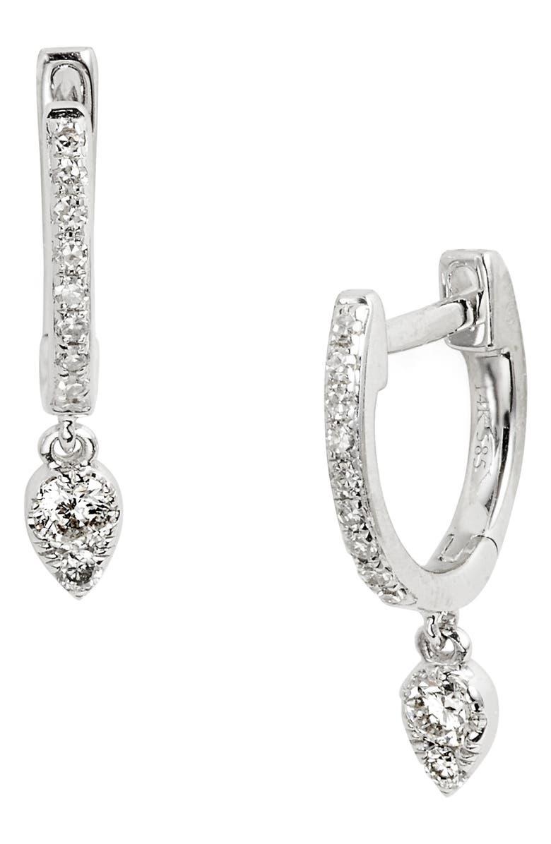 EF COLLECTION Diamond Teardrop Huggies, Main, color, WHITE GOLD