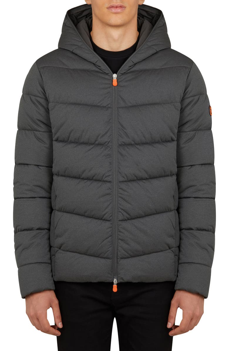 SAVE THE DUCK Angy Waterproof Hooded Puffer Coat, Main, color, CHARCOAL GREY MELANGE